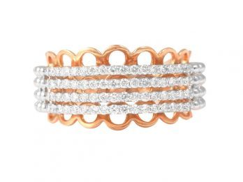 Gold Balls Pave Set Rose Gold Diamond Ring With Rhodium
