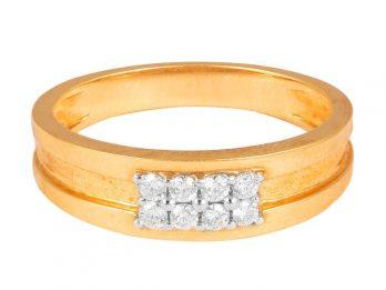 Prong Set Center Six Diamond Rose Gold Band Ring