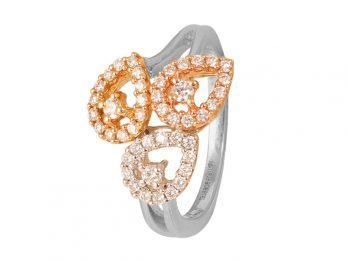 Three Pear Design Prong Set Diamond Ring With Rhodium