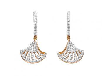 Prong Set Shell Design Hoop Drop Earrings