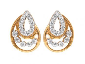 Pear Drop Design Prong Set Diamond Earrings