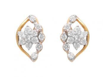 Floral Design Prong Set Diamond Earrings