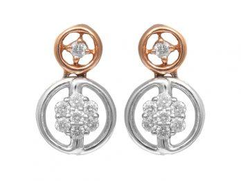 Duel Round Design Rhodium Diamond Earrings