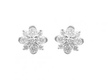 Floral Design Diamond Earrings