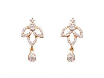 Floral Leafy Design Drop Pear Earrings