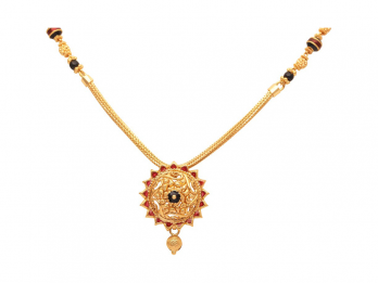 Round Floral And Leafy Design Black Beads Gold Mangal Sutra