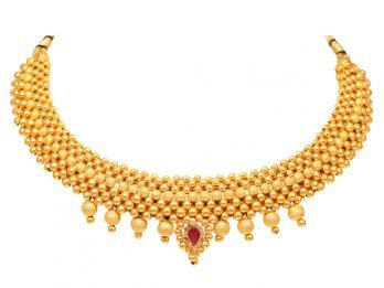 Gold Beads Design With Drop Balls Thushi Necklace