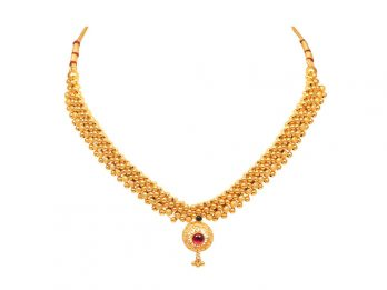 Gold Bead Design With Floral Pendant Thushi Necklace