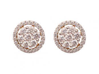 Round Design Prong Set Diamond Earrings