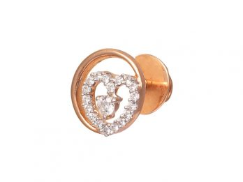 Round And Heart Design Prong Set Rose Gold Diamond Earrings