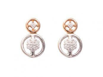Duel Round Design Rose Gold Rhodium Diamond Earrings