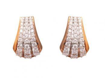 Pave Set Hoop Rose Gold Diamond Earrings