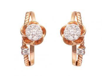 Floral Design Pressure Set Rose Gold Diamond Earrings