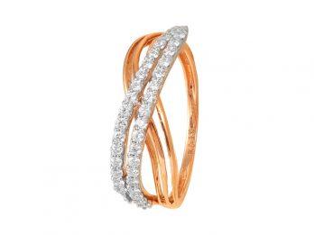 Double Line Crisscross Design Rose Gold Diamond Ring