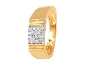 Square Design Prong set Diamond Mens Ring