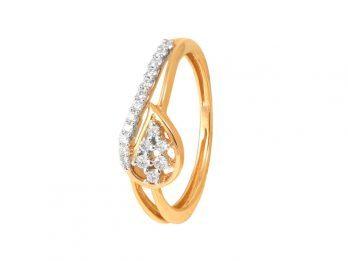 Leafy Design Prong Set Diamond Ring