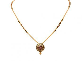Circle Pendant With Meena And Black Beads Gold Mangal Sutra