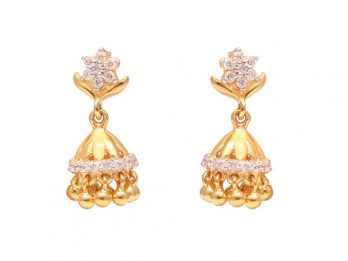 Floral And Gold Beads Design Jhumka Earrings With CZ