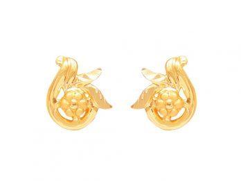 Gold Embossed Floral Design Earrings