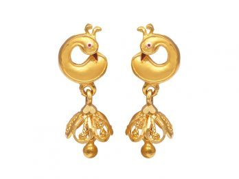 Peacock Design With Drop Gold Bead Earrings