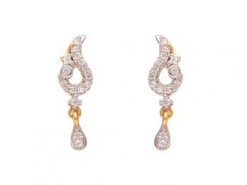 Pear Drop Design Gold CZ Earrings