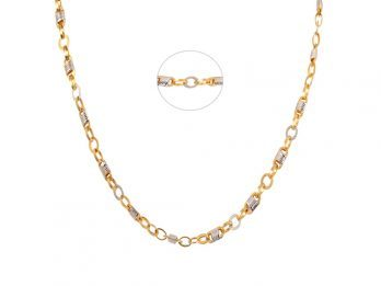 Cable Link Gold Chain With Rhodium