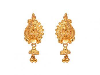 Filligree Embossed Design Gold Drop Earrings