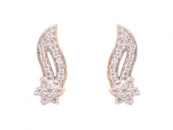 Wave Design Gold CZ Earrings