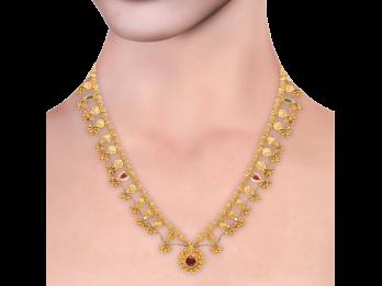 Gold Embossed Filigree Saaz Necklace